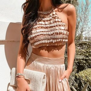 F21 Cowrie Shell & Coin Halter Top